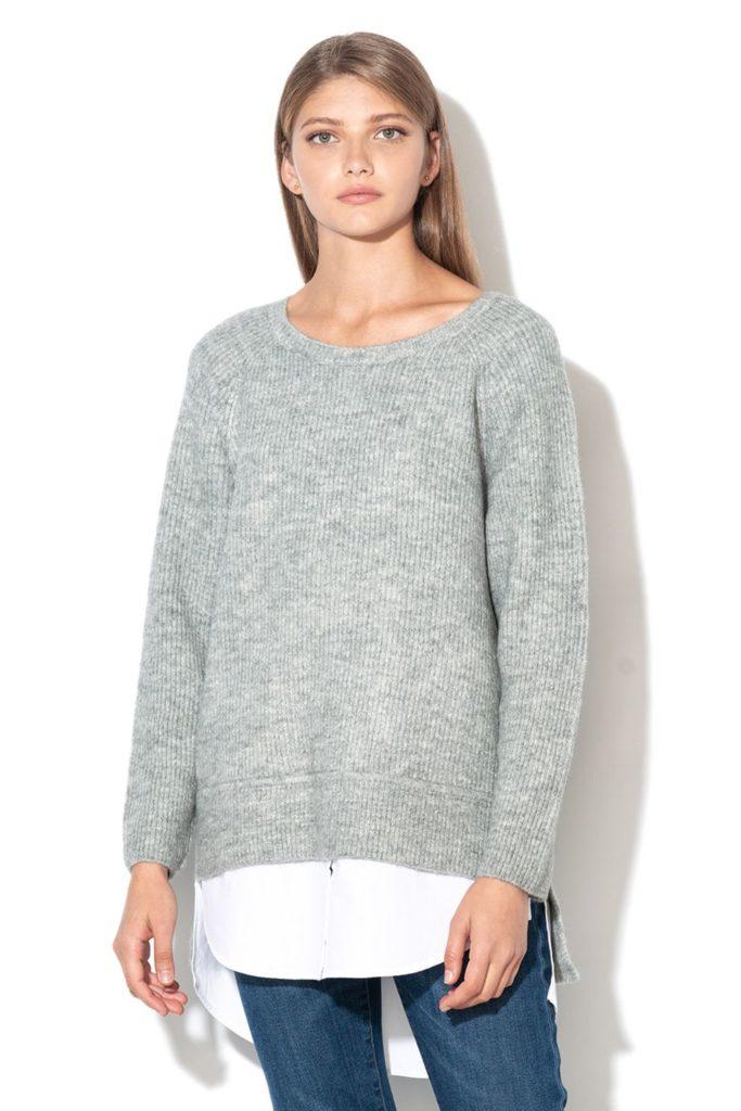 pulover tesatura fina gri 2 in 1