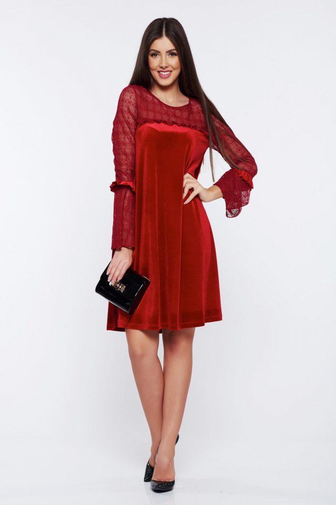 rochie rosie din catifea si dantela, modele rochii rosii de seara