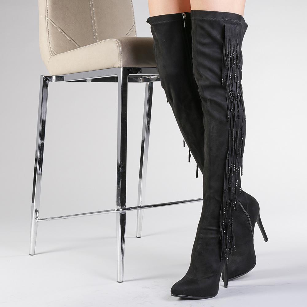 cizme peste genunchi cu franjuri