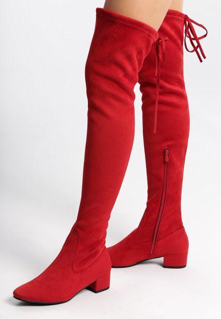 cizme rosii lungi cu toc jos