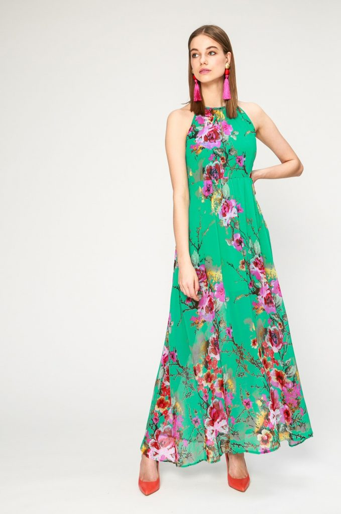 Rochie lunga verde cu flori