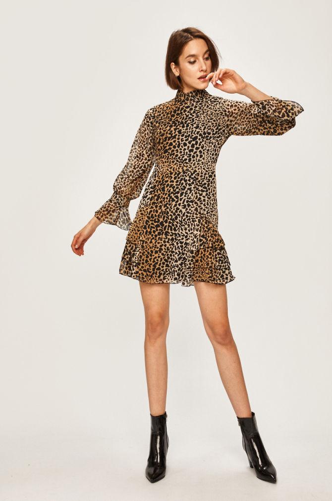 rochie cu print leopard si maneci clopot