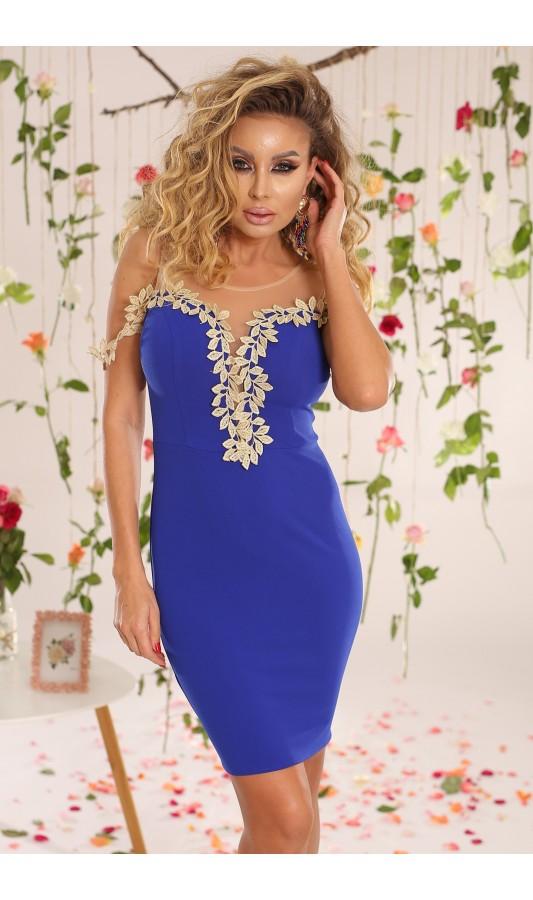 Rochie albastra mulata pe corp