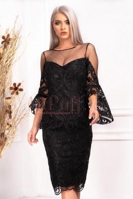 rochie midi din dantela neagra