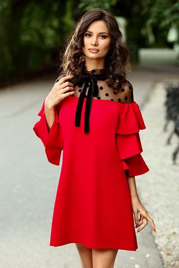 rochie rosie simpla cu maneci clopot