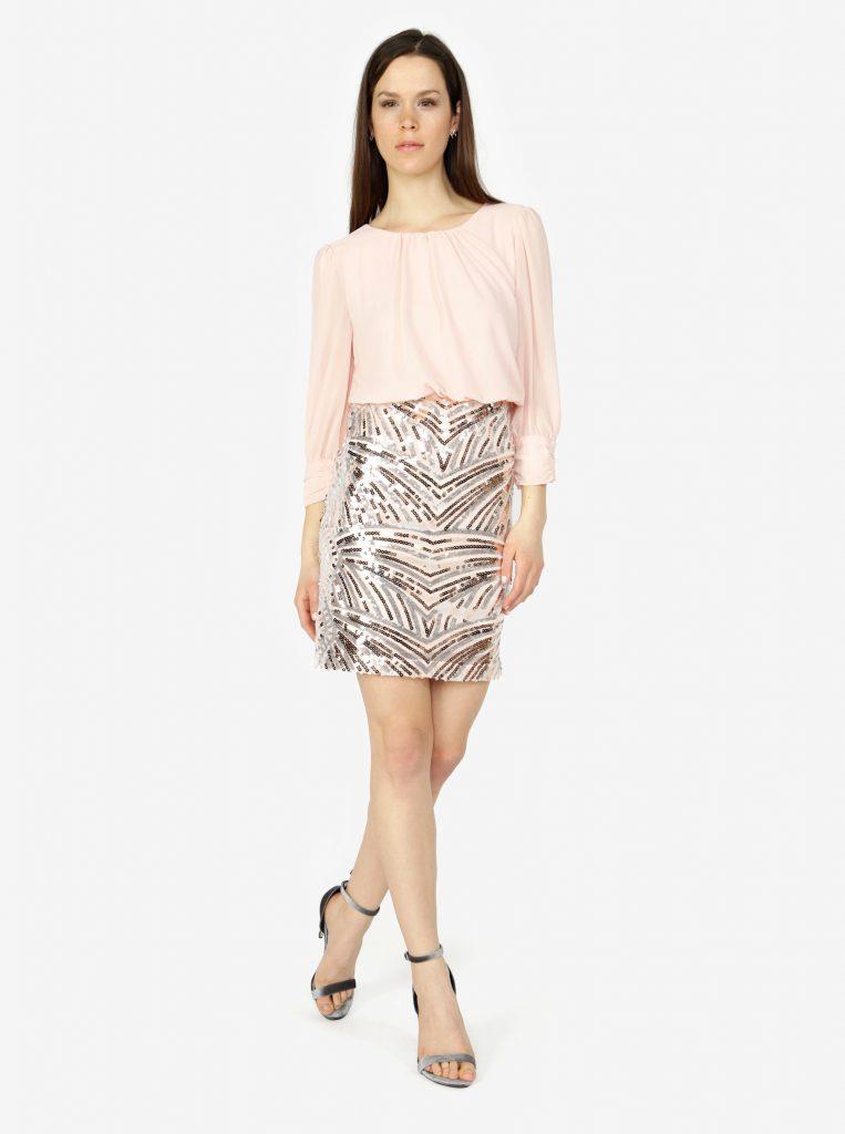 rochie roz scurta cu paiete
