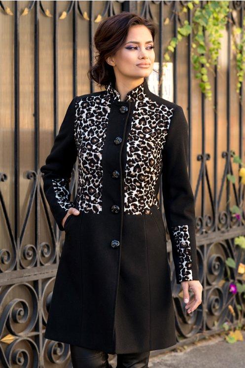 palton negru cu animal print