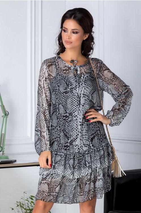 rochie lejera cu print gri