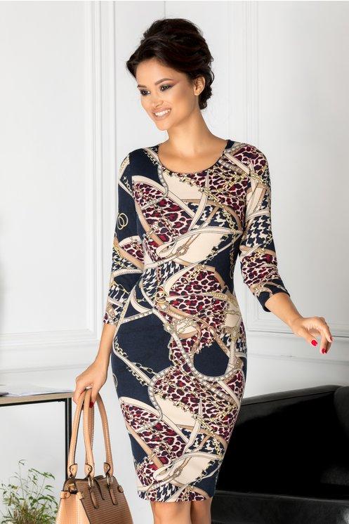 rochie mulata bleumarin cu print