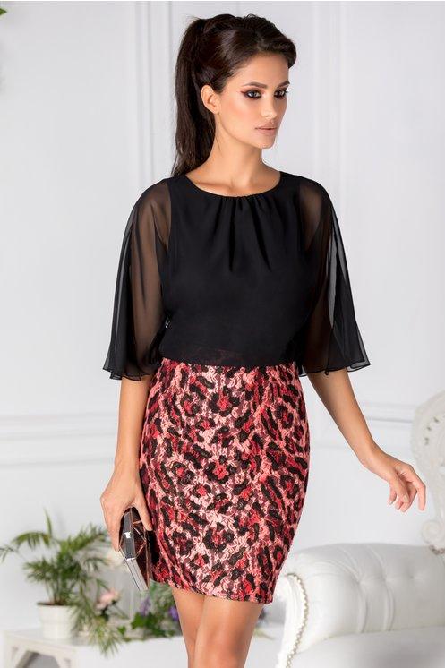 rochie neagra-rosie cu animal print