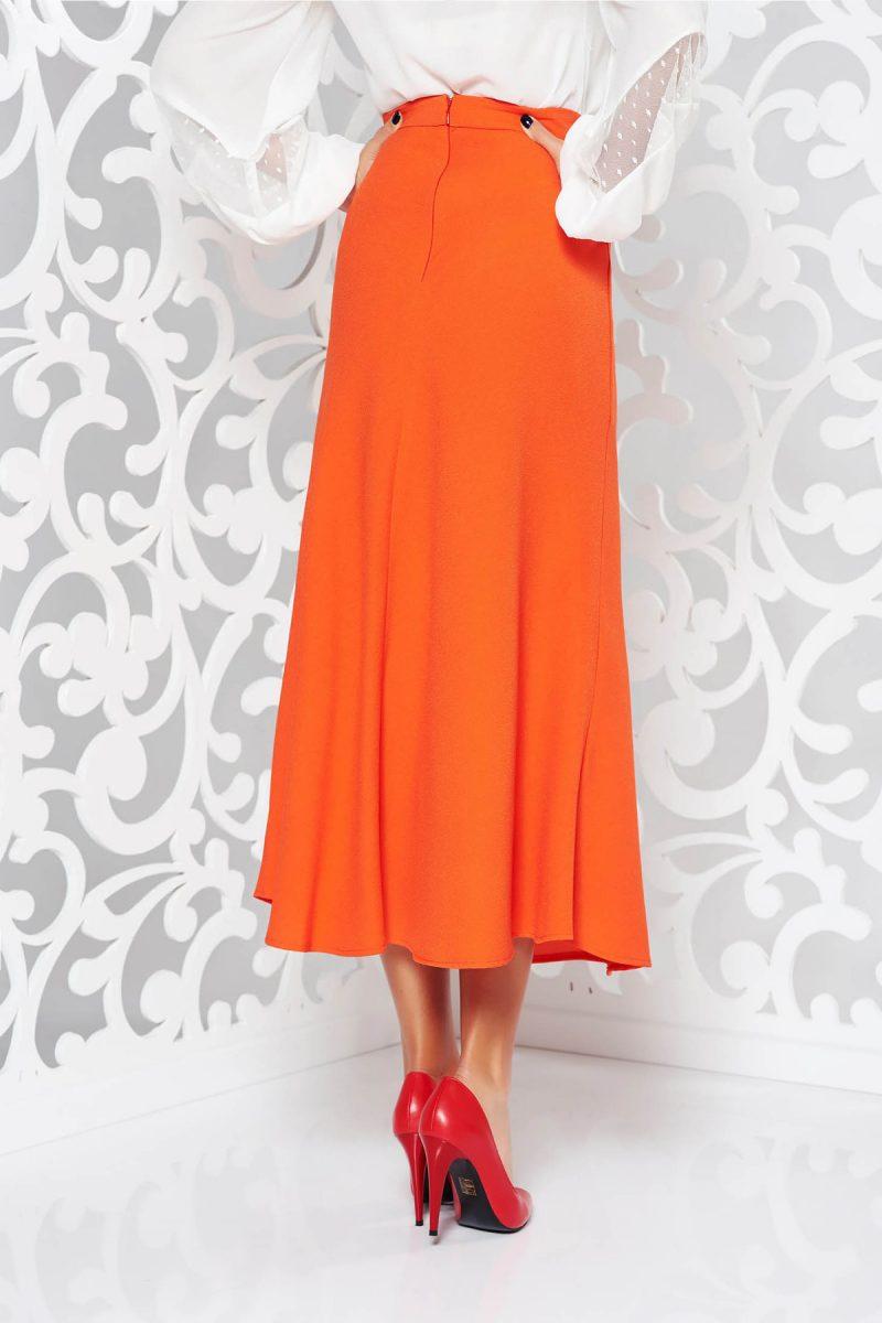 Fusta portocalie eleganta evazata cu talie inalta din material usor elastic -