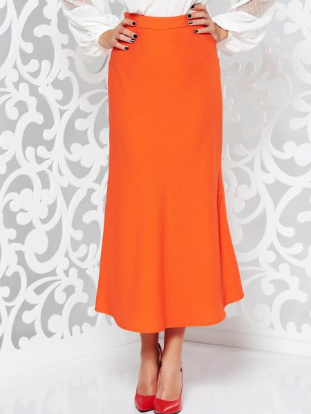 Fusta  portocalie eleganta evazata cu talie inalta din material usor elastic