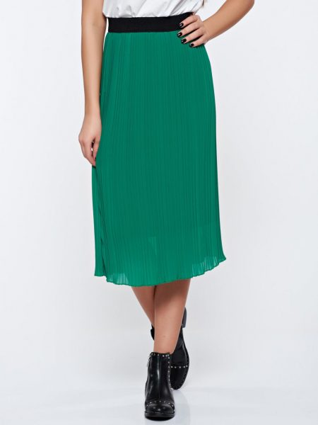 Fusta verde casual plisata cu elastic in talie captusita pe interior