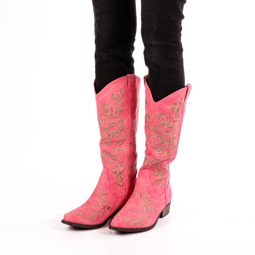 cizme roz stil western