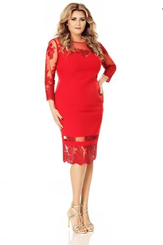 rochie rosie plus size