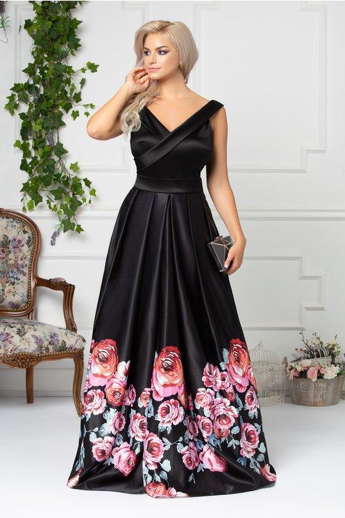 rochie lunga neagra cu trandafiri roz