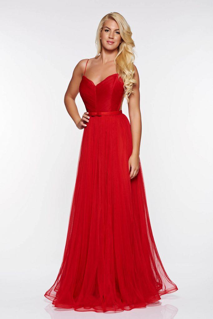 rochie lunga rosie diafana