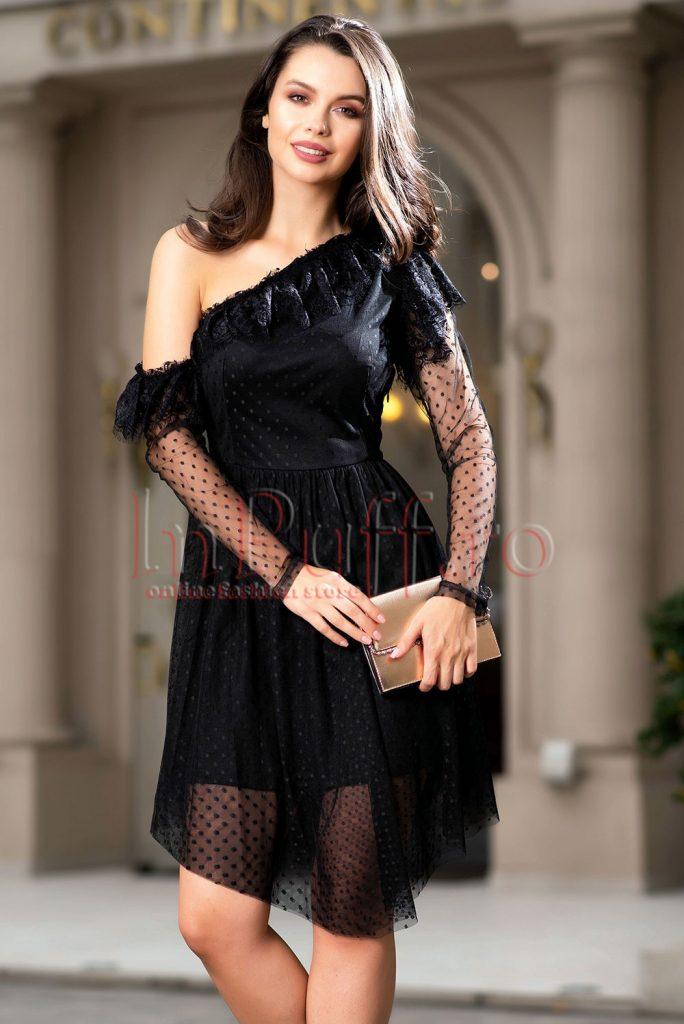rochie neagra asimetrica