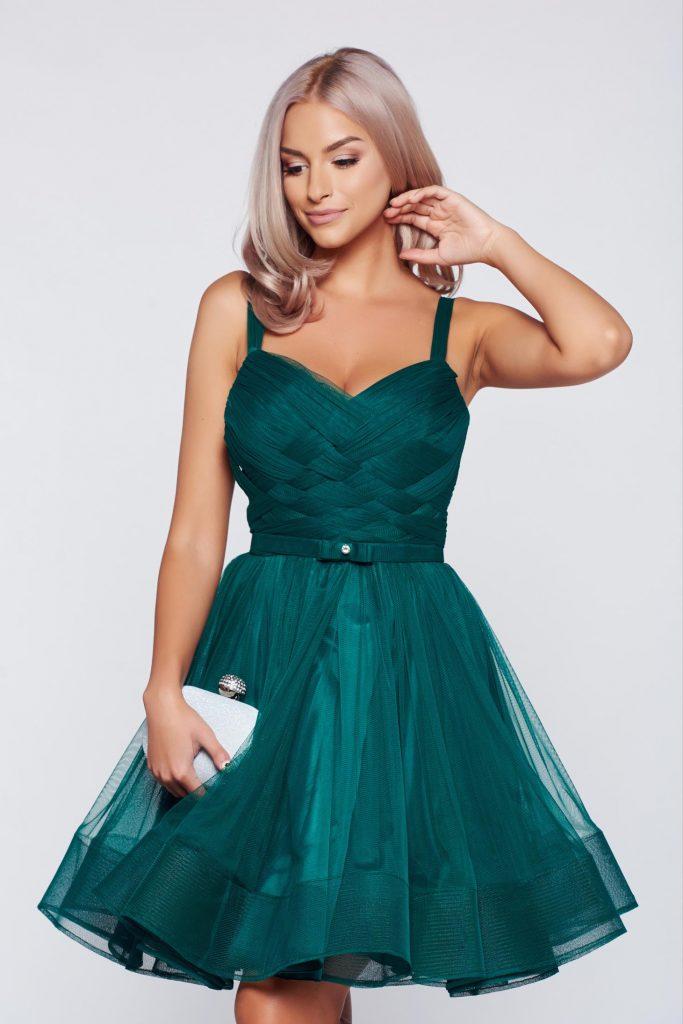 rochie verde tip corset