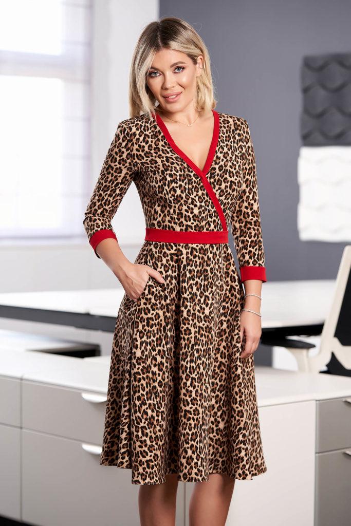 rochie clos cu print leopard