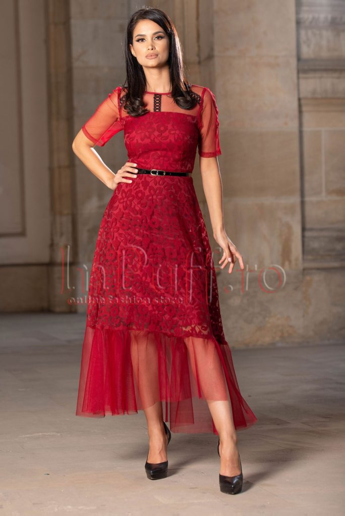 rochie de seara bordo din dantela