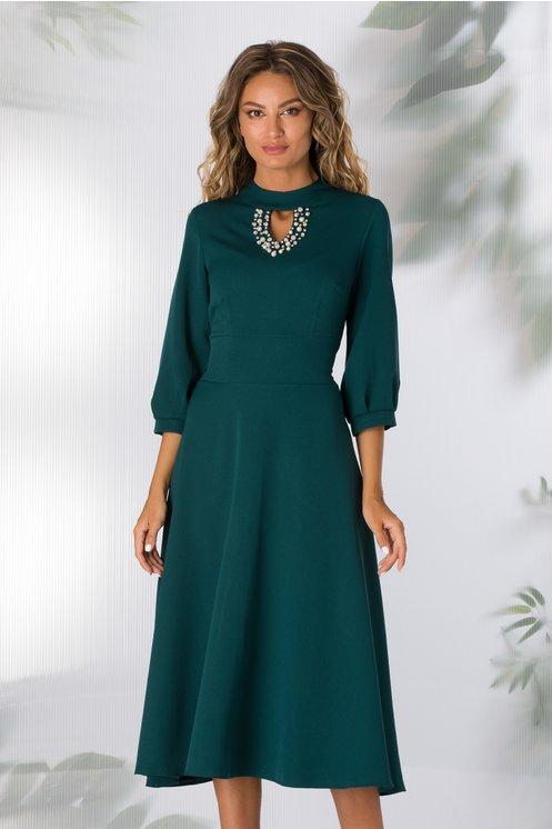 rochie de seara turcoaz cu perlute
