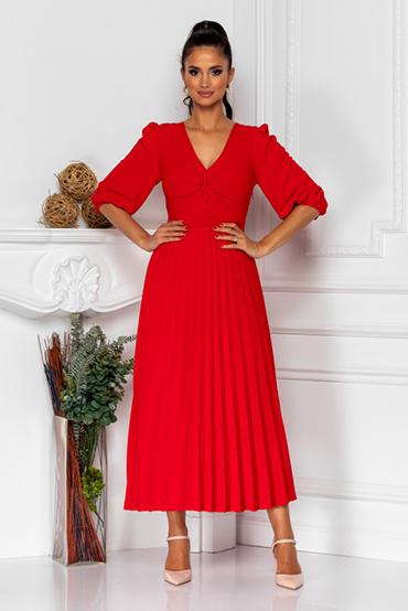 rochie-eleganta-rosie-cu-pliuri