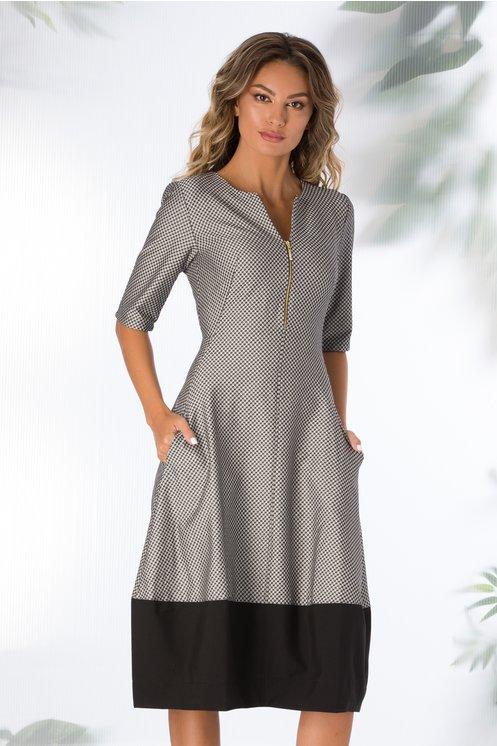 rochie gri metalizat cu buzunare