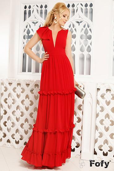 rochie-lunga-rosie-cu-volane