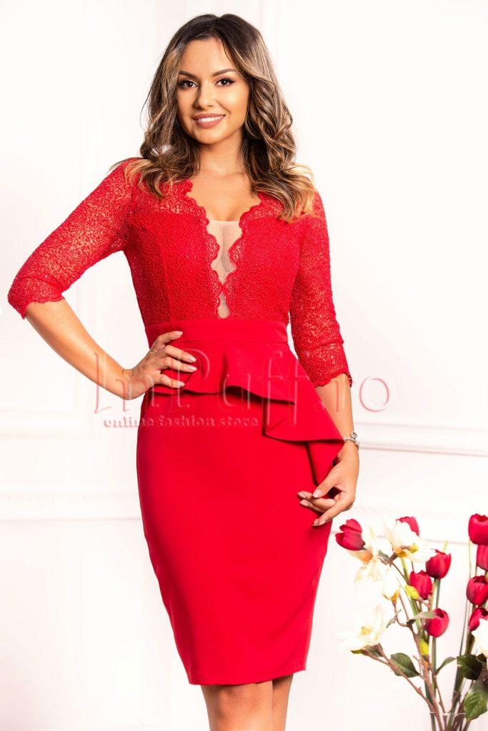 rochie midi peplum rosie