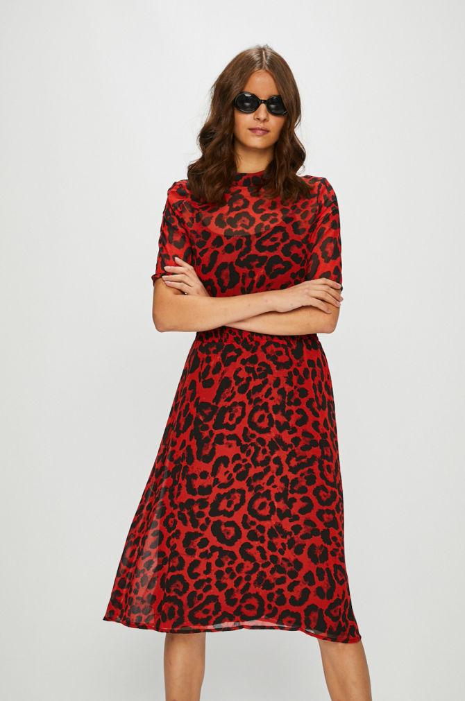 rochie rosie cu print animal