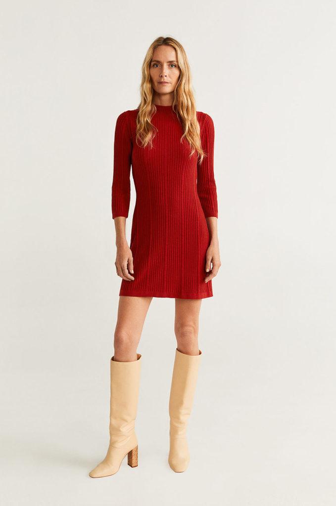 rochie scurta rosie din tricot