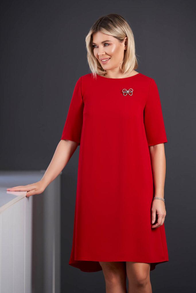 rochie simpla rosie din stofa