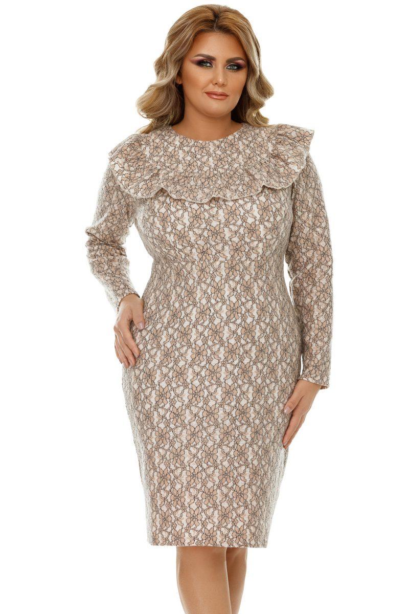 Rochie Plus Size Ivete Bej -