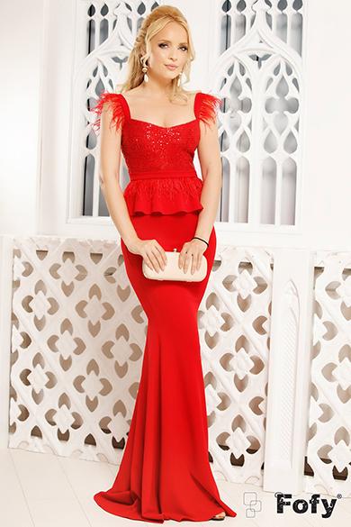 Rochie rosie model sirena
