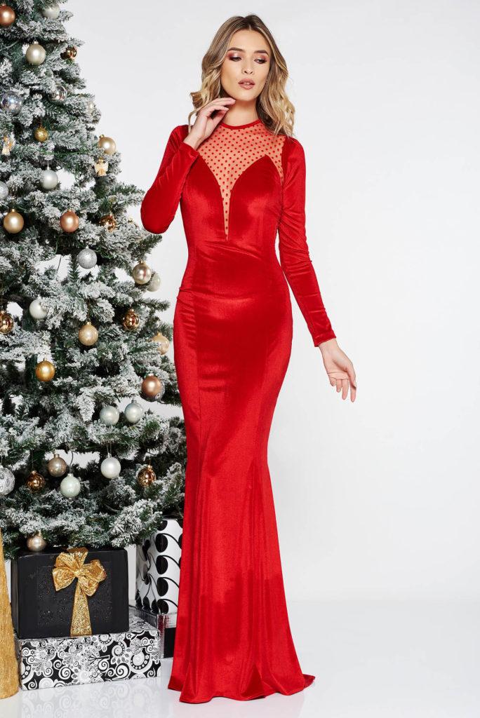 rochie sirena rosie din catifea