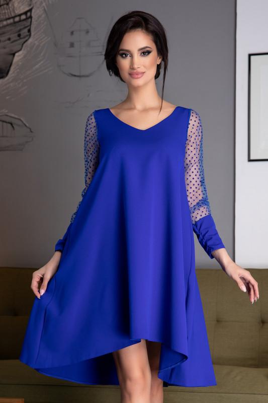 Rochie albastra larga cu buline la maneci