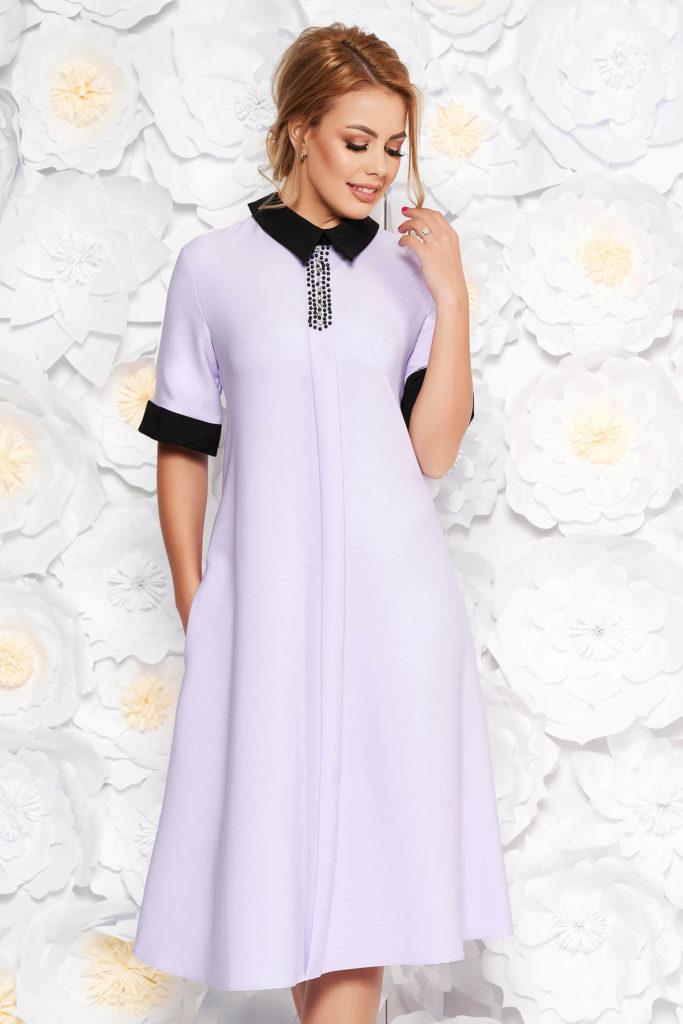 Rochie dulcica lila cu buzunare