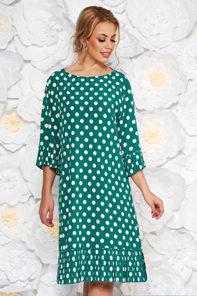 rochie larga verde cu buline