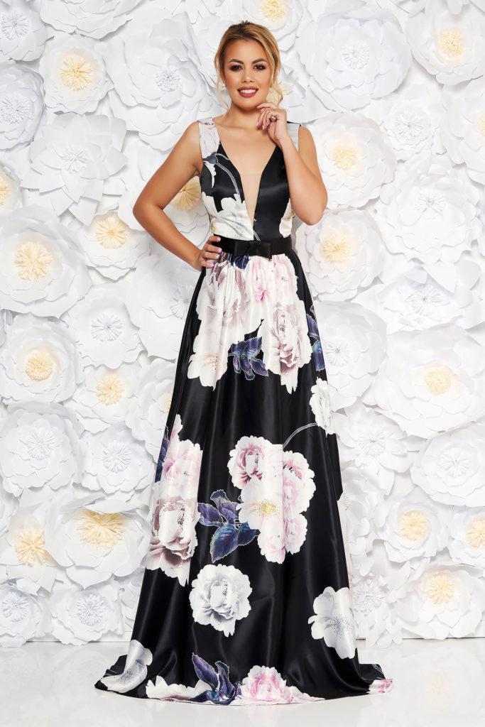 rochie lunga cu decolteu in v