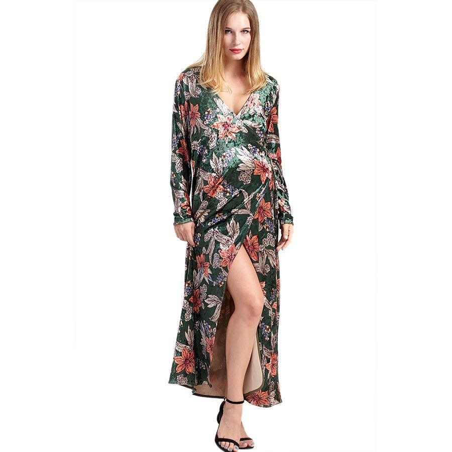 Rochie lunga cu flori pentru gravidute