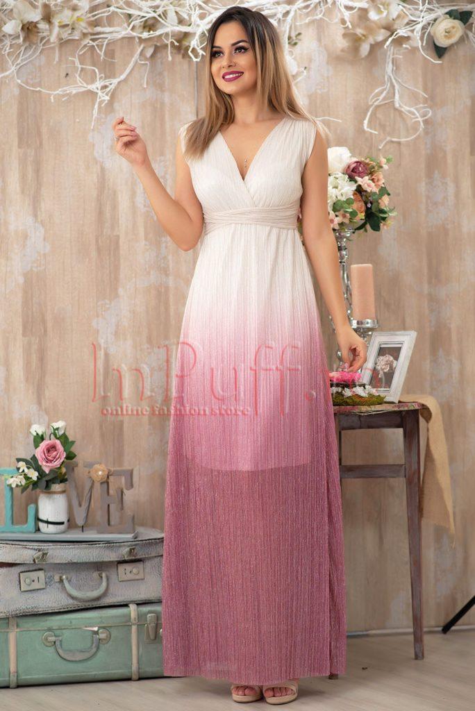 rochie material crepe cu decolteu