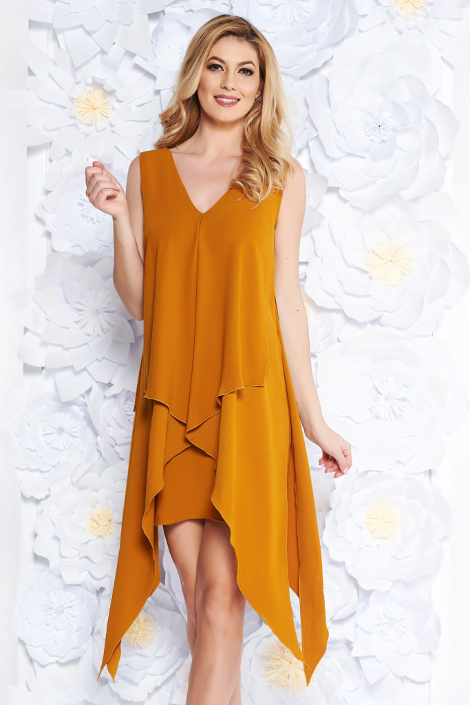 rochie mustar midi cu parti asimetrice