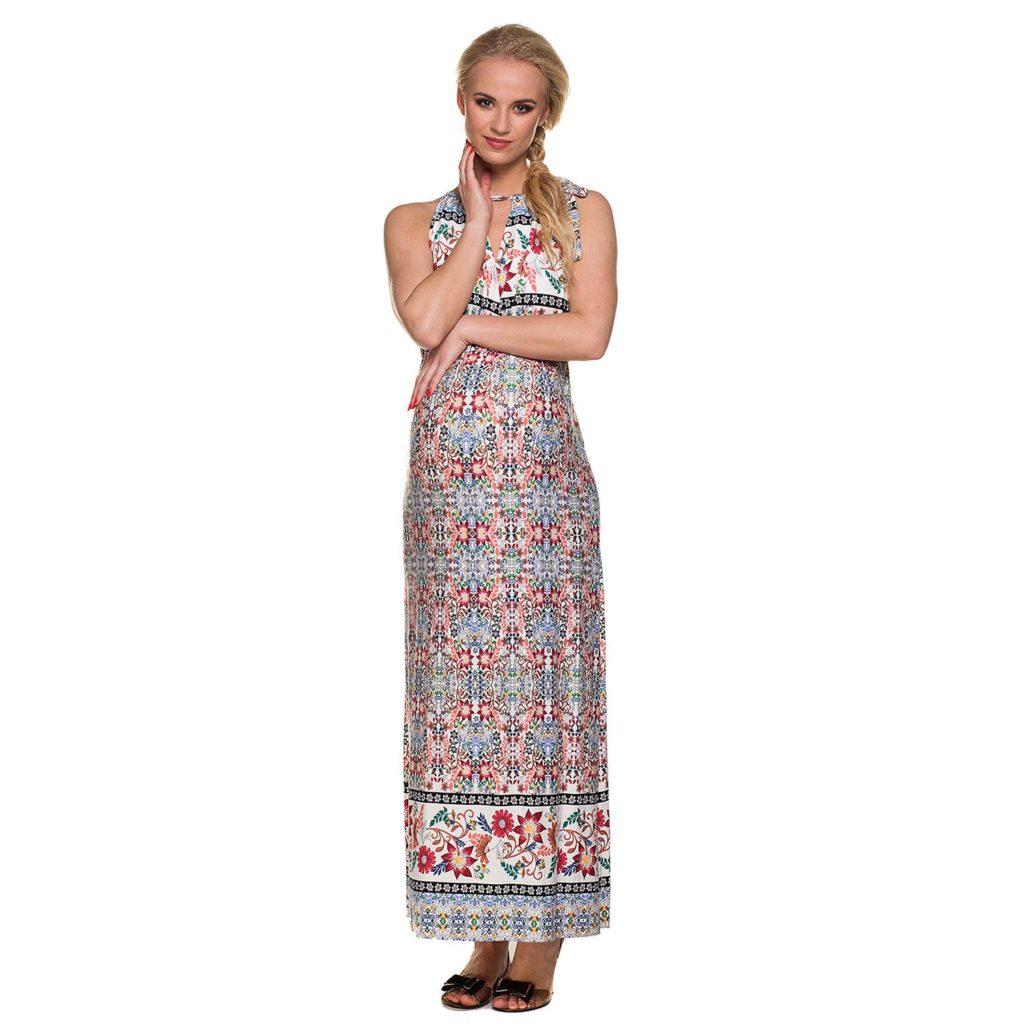 rochie printuri florale lunga pentru gravide