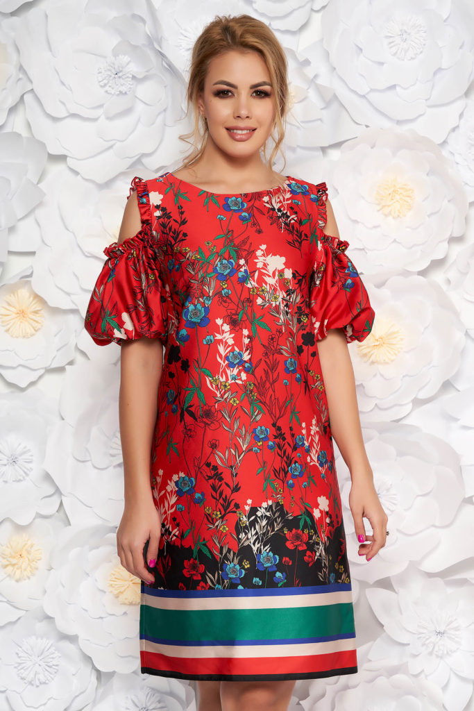 rochie rosie cu imprimeuri florale