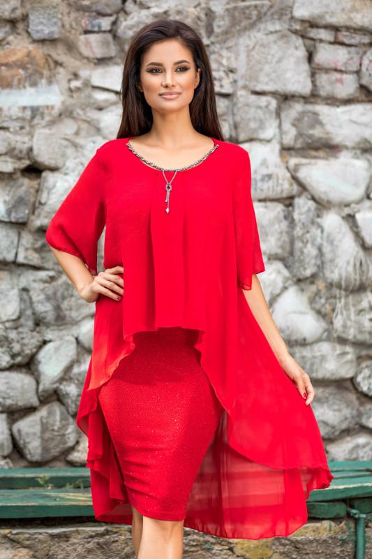 rochie rosie domnisoare de onoare