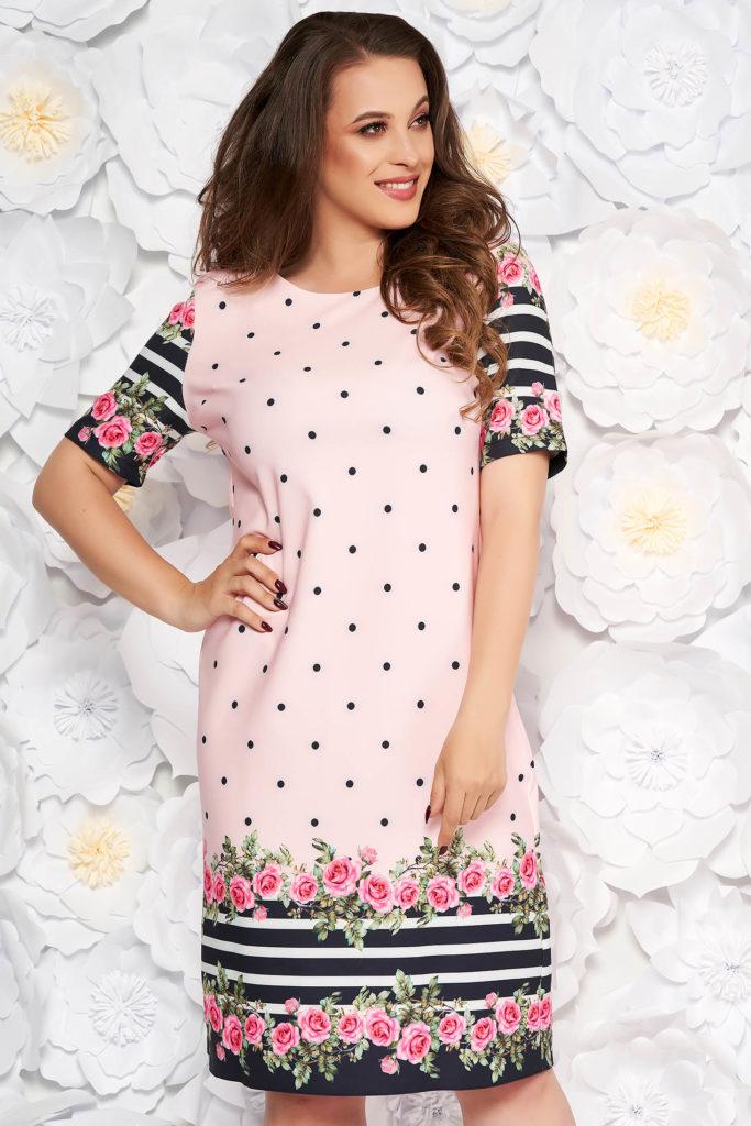 Rochie xxl roz cu flori
