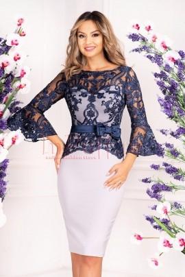rochie de ocazie alba-bleumarin