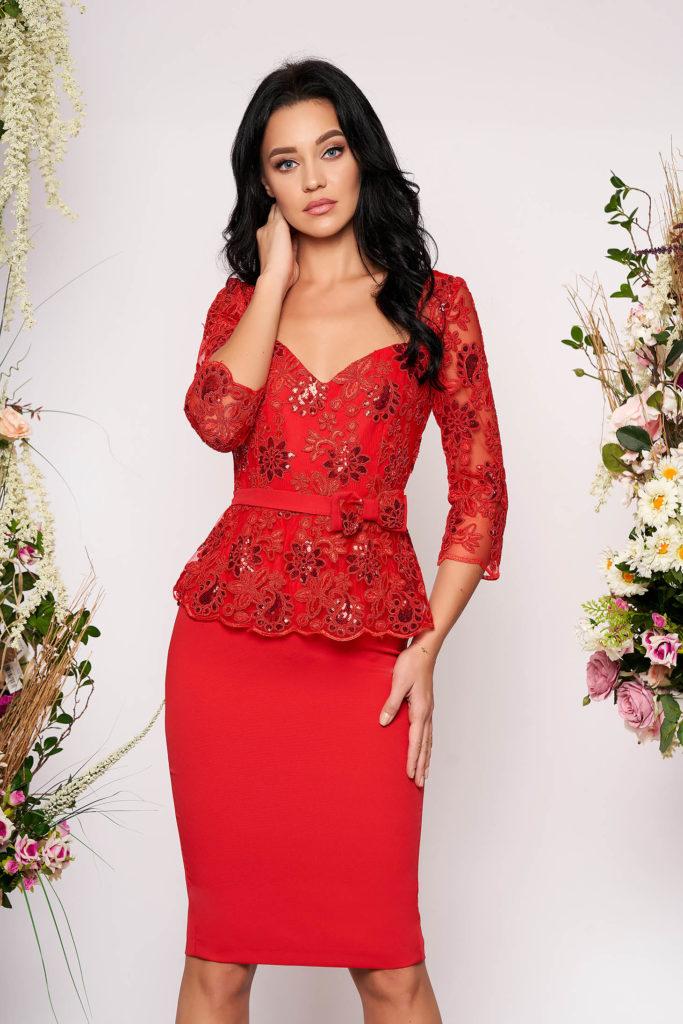 rochie peplum rosie cu paiete