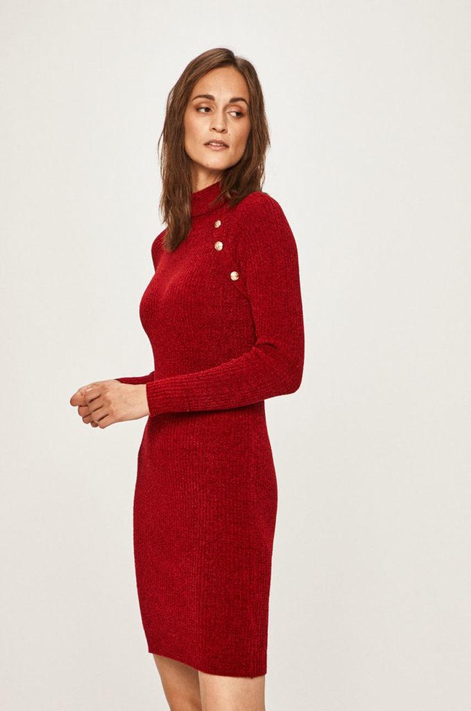 rochie rosie scurta din tricot
